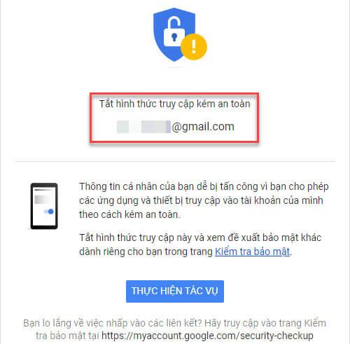Tắt hình thức truy cập kém an toàn gmail